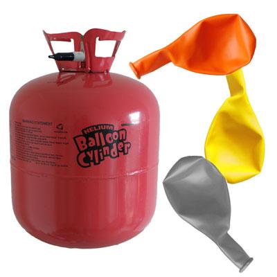 Grote helium tanks met ballonnen